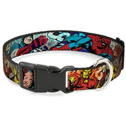 Plastic Clip Collar - 4-Superhero Action Poses/Comic Scenes White/Black/Full Color Splatter