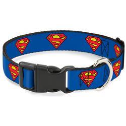 Plastic Clip Collar - Superman Shield Blue