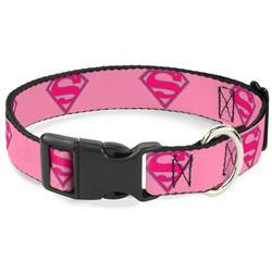 Plastic Clip Collar - Superman Shield Pink
