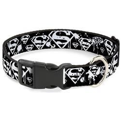 Plastic Clip Collar - Superman Shield Splatter Black/White