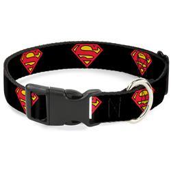Plastic Clip Collar - Superman Shield Black