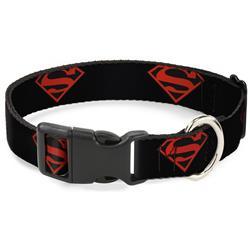 Plastic Clip Collar - Superboy Shield Black/Red