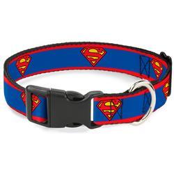 Plastic Clip Collar - Superman Shield/Stripe Red/Blue
