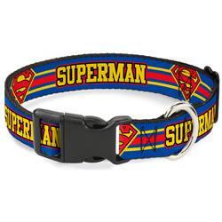 Plastic Clip Collar - SUPERMAN/Shield Stripe Blue/Yellow/Red