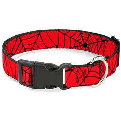 Plastic Clip Collar - Spiderweb Red/Black