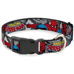 Plastic Clip Collar - THE AMAZING SPIDER-MAN Stacked Comic Books/Action Poses