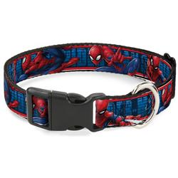 Plastic Clip Collar - SPIDER-MAN 3-Action Poses/Bricks/Stripe Blues/Red/White