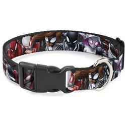 Plastic Clip Collar - 6-Spider Hero Action Poses Grays