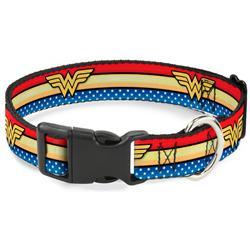 Plastic Clip Collar - Wonder Woman Logo Stripe/Stars Red/Gold/Blue/White