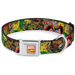 Marvel Comics Seatbelt Buckle Collar - Thor & Loki Poses/Retro Comic Books Stacked