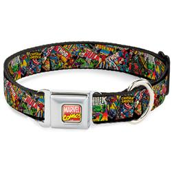 Marvel Comics Seatbelt Buckle Collar - Retro Marvel Comic Books Stacked CLOSE-UP