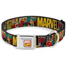 Marvel Comics Seatbelt Buckle Collar - MARVEL/Retro Comic Panels Black/Yellow