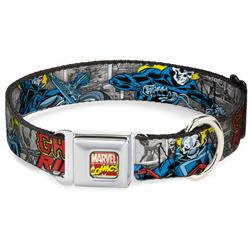 Marvel Comics Logo Full Color Seatbelt Buckle Collar - Classic GHOST RIDER 3-Riding Poses/Comic Blocks Grays/Yellow/Black/Red