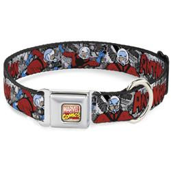 Marvel Comics Logo Full Color Seatbelt Buckle Collar - Classic ANT-MAN 3-Poses/Comic Stacked Grays/Black/Red