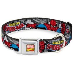 Marvel Comics Seatbelt Buckle Collar - THE AMAZING SPIDER-MAN Stacked Comic Books/Action Poses