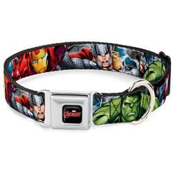 MARVEL AVENGERS Logo Full Color Black/Red/White Seatbelt Buckle Collar - Marvel Avengers 4-Superhero Poses CLOSE-UP