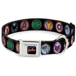 MARVEL AVENGERS Logo Full Color Black/Red/White Seatbelt Buckle Collar - 9-Avenger Icons Black/Multi Color