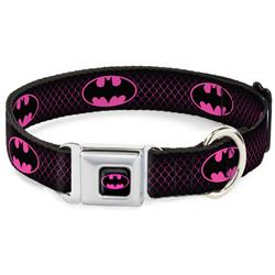 Batman Shield Full Color Black/Hot Pink Seatbelt Buckle Collar - Batman Shield/Chainlink Black/Hot Pink