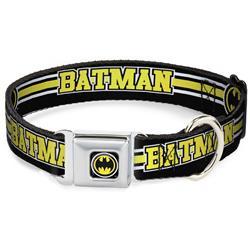 Bat Signal Black/White/Yellow Seatbelt Buckle Collar - BATMAN/Bat Signal Triple Stripe Black/White/Yellow