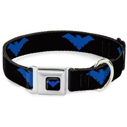 Nightwing Logo Full Color Black/Blue Seatbelt Buckle Collar - Nightwing Logo Black/Blue