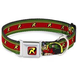 "Robin ""R"" Logo Full Color Red/Black/Yellow Seatbelt Buckle Collar - Robin Action Pose/""R"" Logo Stripe Green/Yellow/Red/Black"