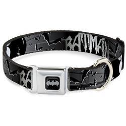 Batman Black/Silver Seatbelt Buckle Collar - BATMAN w/Bat Signals & Flying Bats Black/White