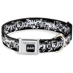 Batman Black/Silver Seatbelt Buckle Collar - Batman Action Verbiage Black/White