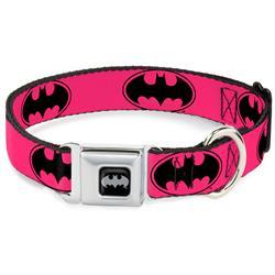 Batman Black/Silver Seatbelt Buckle Collar - Bat Signal-3 Fuchsia/Black/Fuchsia