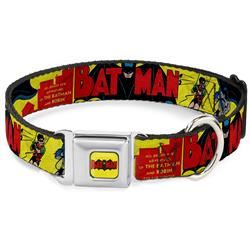Classic BATMAN Comic Logo Full Color Yellow/Black/Red Seatbelt Buckle Collar - Classic BATMAN Issue #1 Robin & Batman Cover Pose Yellow/Red