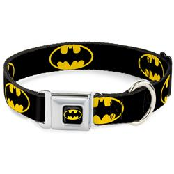 Batman Black/Yellow Seatbelt Buckle Collar - Batman Shield Black/Yellow