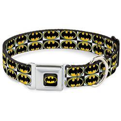 Batman Black/Yellow Seatbelt Buckle Collar - Batman Shield Checkers