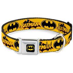 Batman Black/Yellow Seatbelt Buckle Collar - Vintage Batman Logo & Bat Signal-3 Yellow