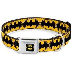 Batman Black/Yellow Seatbelt Buckle Collar - Bat Signal-3 Yellow/Black/Yellow