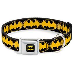 Batman Black/Yellow Seatbelt Buckle Collar - Bat Signal-3 Black/Yellow/Black
