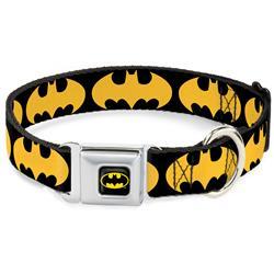 Batman Black/Yellow Seatbelt Buckle Collar - Bat Signal-1 Black/Yellow