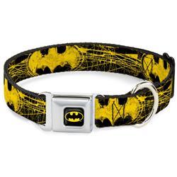 Batman Black/Yellow Seatbelt Buckle Collar - Batman Shield CLOSE-UP Sketch Black/Yellow