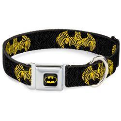 Batman Black/Yellow Seatbelt Buckle Collar - Zebra Bat Signal Black/Gray/Yellow/Black