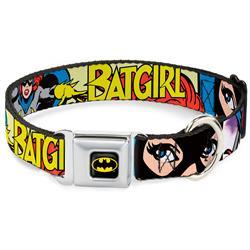 Batman Black/Yellow Seatbelt Buckle Collar - BATGIRL in Action w/Face CLOSE-UP