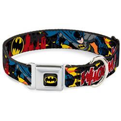 Batman Black/Yellow Seatbelt Buckle Collar - Batman in Action WHOOM! Red Skyline