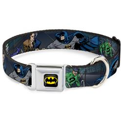 Batman Black/Yellow Seatbelt Buckle Collar - Batman Battling Villains in Tunnel