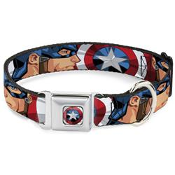 Captain America Shield2 CLOSE-UP Full Color Seatbelt Buckle Collar - Captain America Face Turns/Shield CLOSE-UP