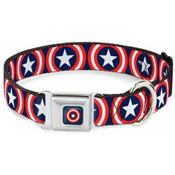 Captain America Shield Navy Seatbelt Buckle Collar - Captain America Shield Repeat Navy