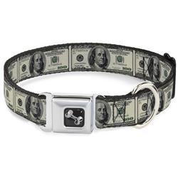 Dog Bone Black/Silver Seatbelt Buckle Collar - 100 Dollar Bills