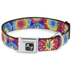 Dog Bone Black/Silver Seatbelt Buckle Collar - 70's Tie Dye