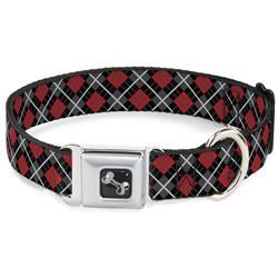 Dog Bone Black/Silver Seatbelt Buckle Collar - Argyle Black/Gray/Red