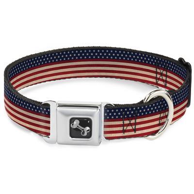 Dog Bone Black/Silver Seatbelt Buckle Collar - American Flag Stripe