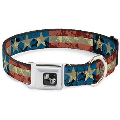 Dog Bone Black/Silver Seatbelt Buckle Collar - Americana Vintage Stars & Stripes