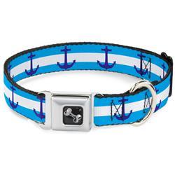 Dog Bone Black/Silver Seatbelt Buckle Collar - Anchor/Stripe Blues/White