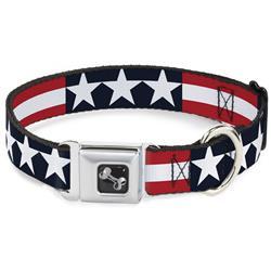 Dog Bone Black/Silver Seatbelt Buckle Collar - Americana Stars & Stripes