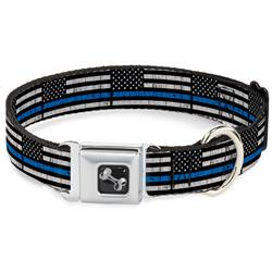 Dog Bone Black/Silver Seatbelt Buckle Collar - Thin Blue Line Flag Weathered Black/Gray/Blue